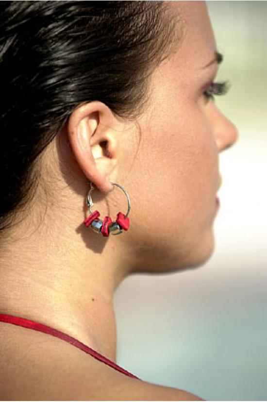 Leather Beads Hoop Earrings